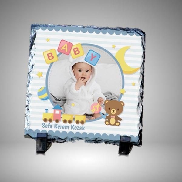 Erkek Bebek Resimli Dekoratif Taş Baskı