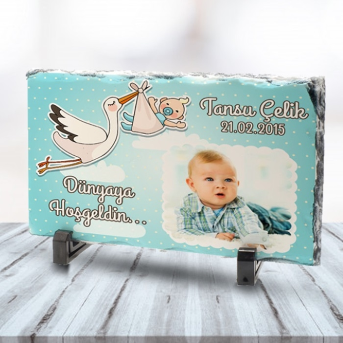 Erkek Bebeklere Özel Fotoğraflı Taş Baskı