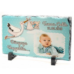 Erkek Bebeklere Özel Fotoğraflı Taş Baskı - Thumbnail