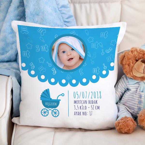 Erkek Bebeklere Özel Fotoğraflı Kare Yastık