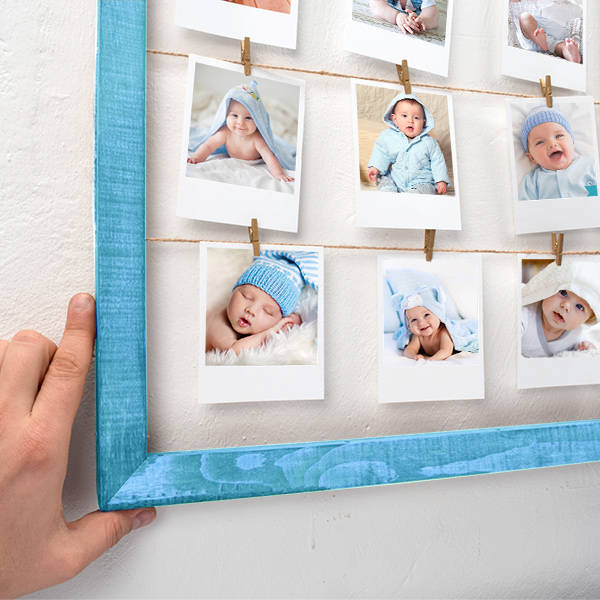 Erkek Bebeklere Özel Mavi İpli ve Mandallı Çerçeve