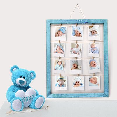- Erkek Bebeklere Özel Mavi İpli ve Mandallı Çerçeve