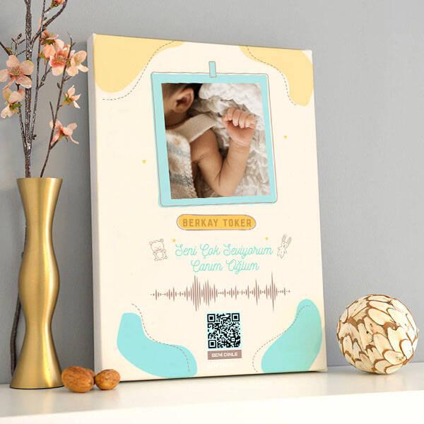 Erkek Bebeklere Özel Ses İzi Kanvas Tablo