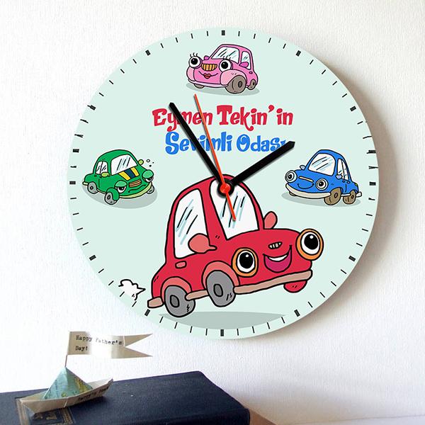 Erkek Çocuklara Arabalı Duvar Saati