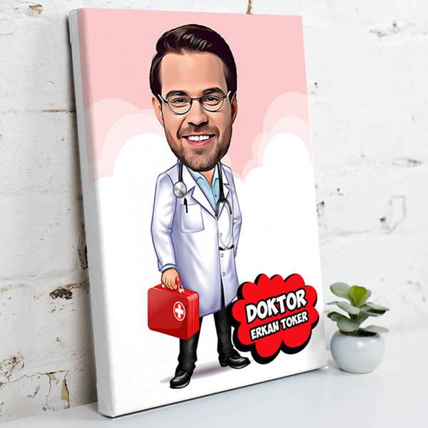 Erkek Doktor İçin Karikatürlü Kanvas Tablo