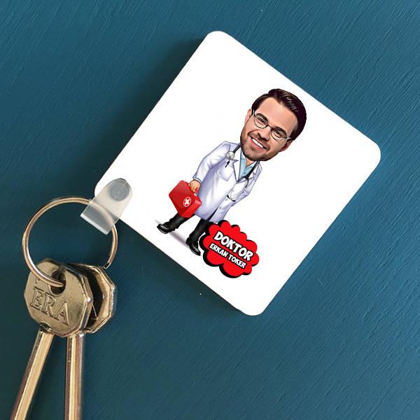 Erkek Doktor Karikatürlü Anahtarlık