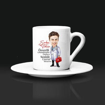 - Erkek Doktor Karikatürlü Kahve Fincanı