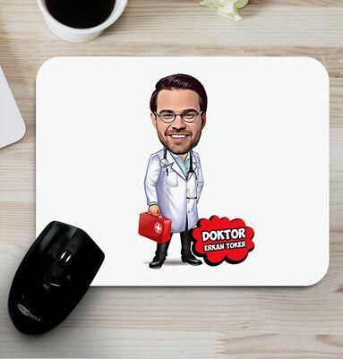 - Erkek Doktora Hediye Karikatürlü Mousepad