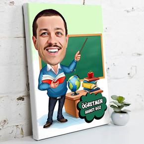 - Erkek Öğretmen İçin Karikatürlü Kanvas Tablo
