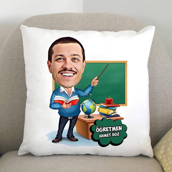Erkek Öğretmen Karikatürlü Yastık