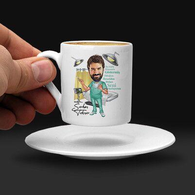 Erkek Sağlıkçılara Özel Karikatürlü Kahve Fincanı - Thumbnail
