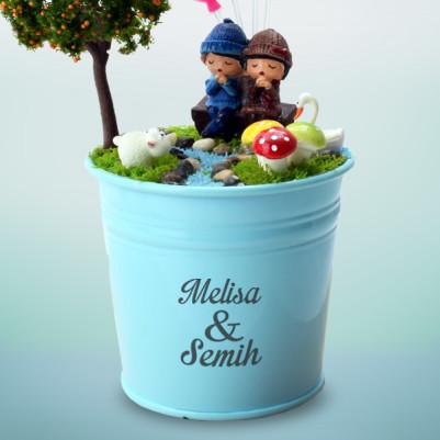 Erkek Sevgiliye Hediye Doğum Günü Minyatür Bahçe - Thumbnail