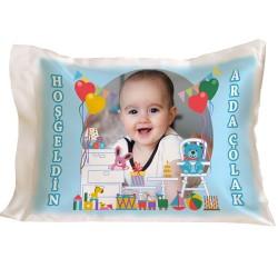Erkek Bebeklere Özel Fotoğraflı Yastık - Thumbnail