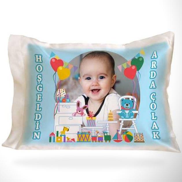 Erkek Bebeklere Özel Fotoğraflı Yastık