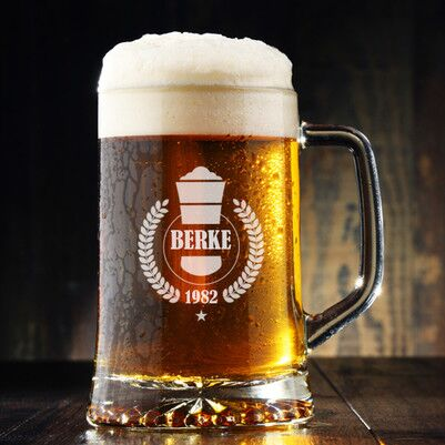 - Erkeklere Hediyelik İsme Özel Bira Bardağı