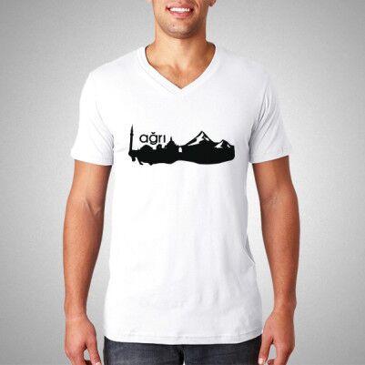 - Erkeklere Özel Ağrı Silueti Tişört