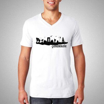Erkeklere Özel Çanakkale Silueti Tişört - Thumbnail