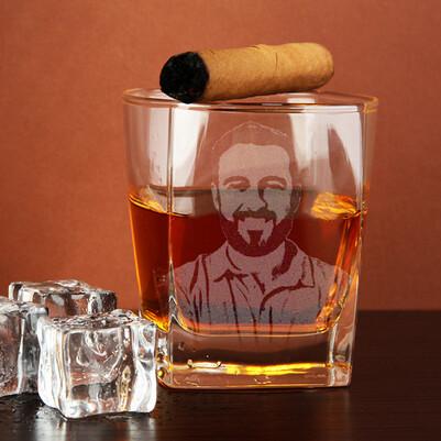 - Erkeklere Özel Fotoğraflı Viski Bardağı