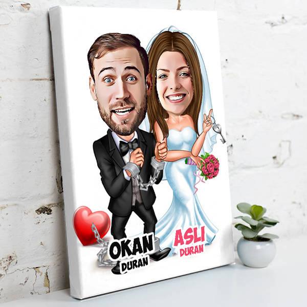 Evlendik Ayvayı Yedik Kanvas Tablo