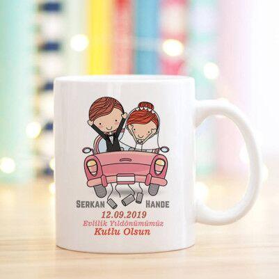 - Evlendik Mutluyuz İsme Özel Kupa Bardak