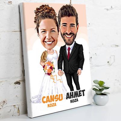 - Evlendik Mutluyuz Karikatürlü Kanvas Tablo
