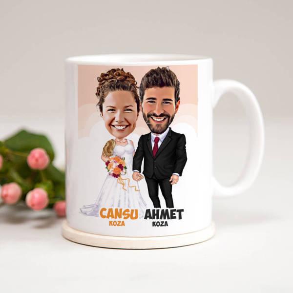 Evlendik Mutluyuz Karikatürlü Kupa Bardak