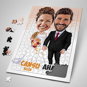 - Evlendik Mutluyuz Karikatürlü Puzzle