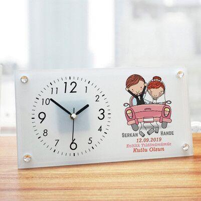 - Evlendik Mutluyuz Tasarım Cam Masa Saati
