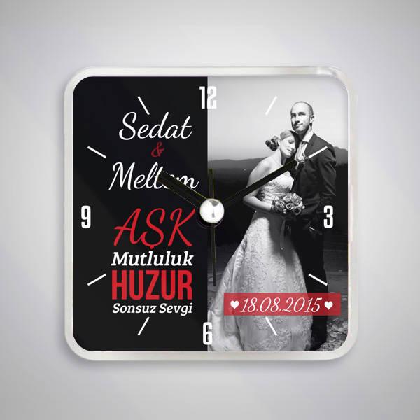 Evli Çiftlere Özel Saatli Buzdolabı Magneti