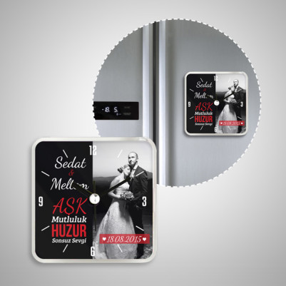 Evli Çiftlere Özel Saatli Buzdolabı Magneti - Thumbnail
