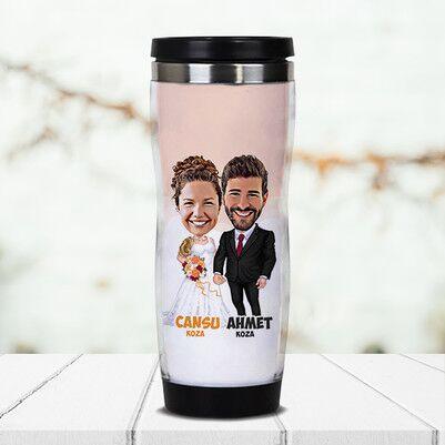 - Evlilik Hayali Karikatürlü Termos Bardak