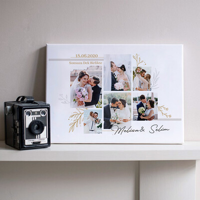 - Evlilik Yıldönümü Hediyesi Fotoğraflı Kanvas