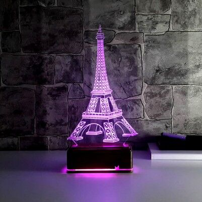 Eyfel Kulesi 3D LED Gece Lambası - Thumbnail