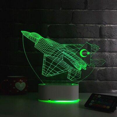 F16 Savaş Uçağı Tasarımlı 3D LED Lamba - Thumbnail