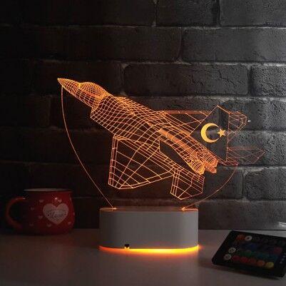 - F16 Savaş Uçağı Tasarımlı 3D LED Lamba