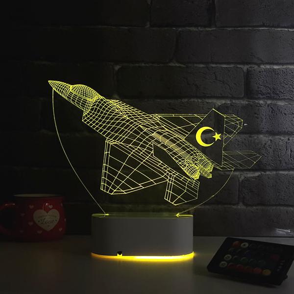 F16 Savaş Uçağı Tasarımlı 3D LED Lamba