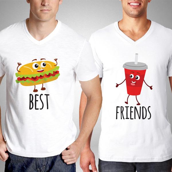 Fast Food Hamburger ve Kola İkili Tişörtleri