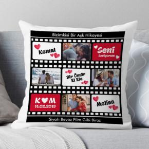 - Film Şeridi Tasarımlı Romantik Yastık