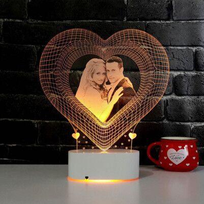 - Fotoğraf Baskılı 3D Kalp Tasarımlı Led Lamba