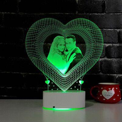 Fotoğraf Baskılı 3D Kalp Tasarımlı Led Lamba - Thumbnail