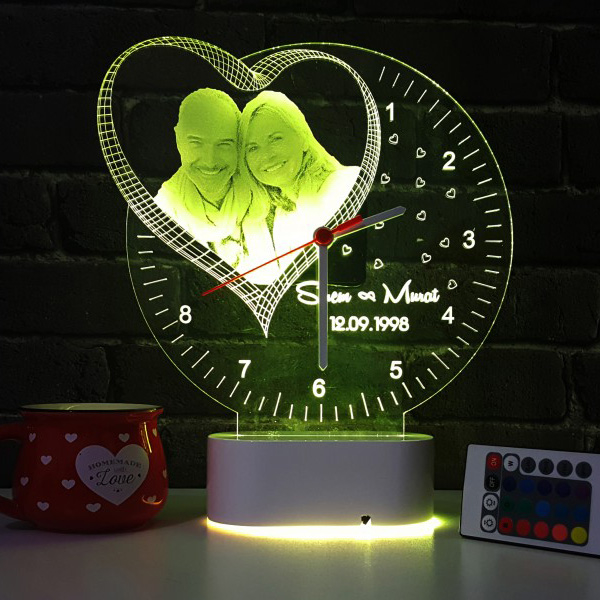 Fotoğraf Baskılı Kişiye Özel 3D Led Saat Lamba