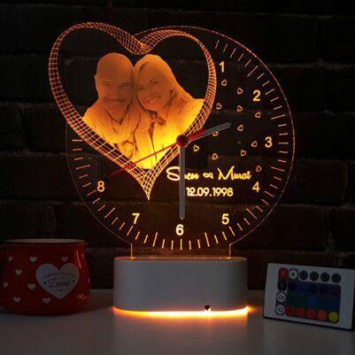 - Fotoğraf Baskılı Kişiye Özel 3D Led Saat Lamba