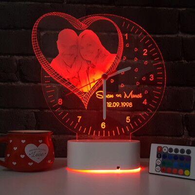 Fotoğraf Baskılı Kişiye Özel 3D Led Saat Lamba - Thumbnail