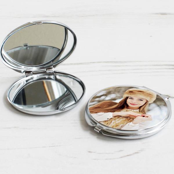 Fotoğraf Baskılı Metal Makyaj Aynası