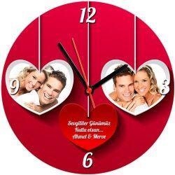 Fotoğraf Baskılı Sevgililer Günü Duvar Saati - Thumbnail
