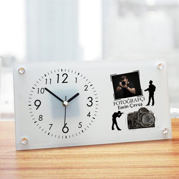 Fotoğrafçıya Hediye Cam Masa Saati