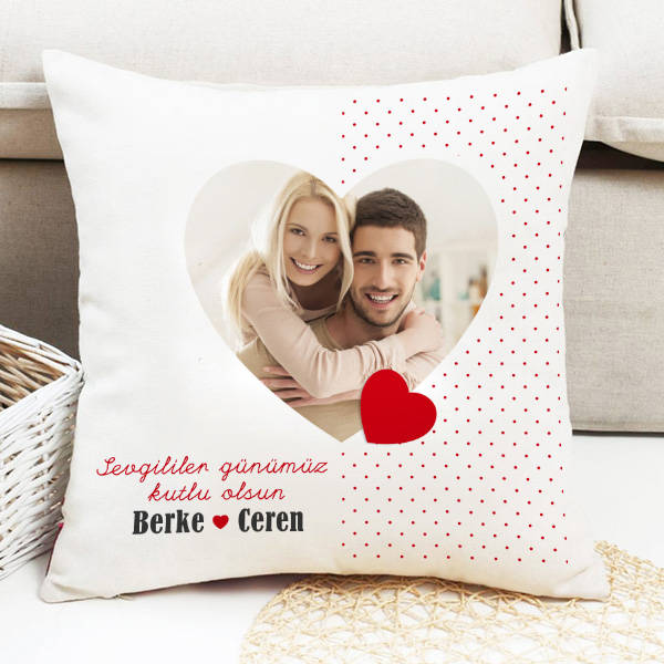 Fotoğraflı 14 Şubat Temalı Sevgili Yastığı