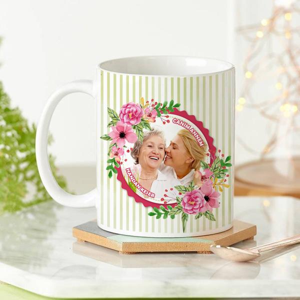Fotoğraflı Çiçek Annem Kupa Bardak