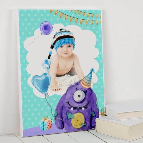 Fotoğraflı Erkek Bebek Kanvas Tablo