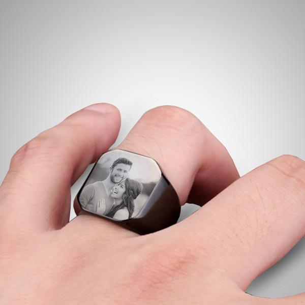 Fotoğraflı Erkek Yüzüğü